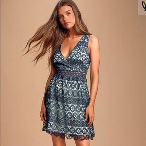 Beautiful blue lace dress from Lulu's! NWT